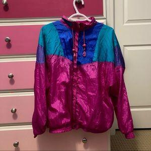 Vintage Lauren Brooke 80s style pink shell jacket
